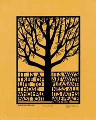 Tree of Life screen print on Tan Canson paper
