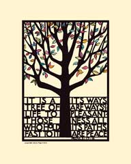 Tree of Life Print with colored leaves